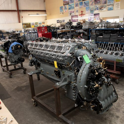 Engines on the final assembly line at various stages